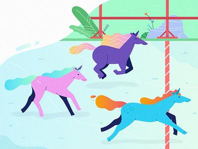 unicorn race ui run flat race horses unicorns unicorn illustration vector fireart fireart studio