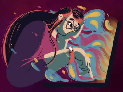 a toxic relationship with the internet 2020 information laptop toxic internet girl woman character illustration fireart studio fireart