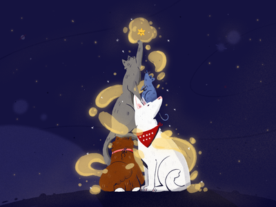 First star xmas merry christmas christmas holidays kitty rat cat dog animals illustration fireart studio fireart