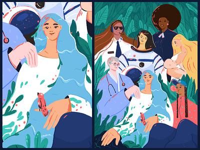 Sisters Are Doin' It for Themselves power girlpower design girl woman character illustration fireart fireart studio