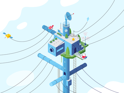 Opengear bird birds animation vector character illustration fireart fireart studio