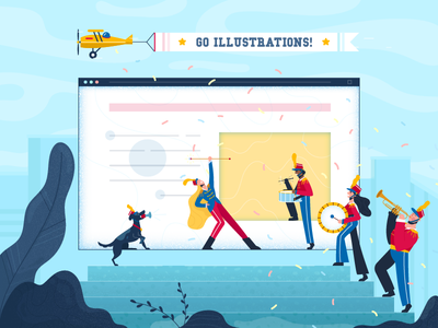 Illustration in Web Design go happy band airplane dog the best webside page ever marching band illustration blog fireart fireart studio