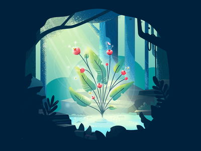 Magical Flower tree butterfly bees sunbeam forest plant flower vector illustration fireart studio fireart