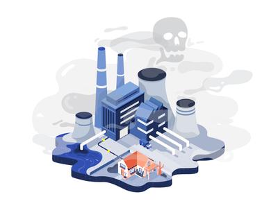 deadly factory pollution fish dead smog house skull factory vector flat 2d illustration fireart studio fireart
