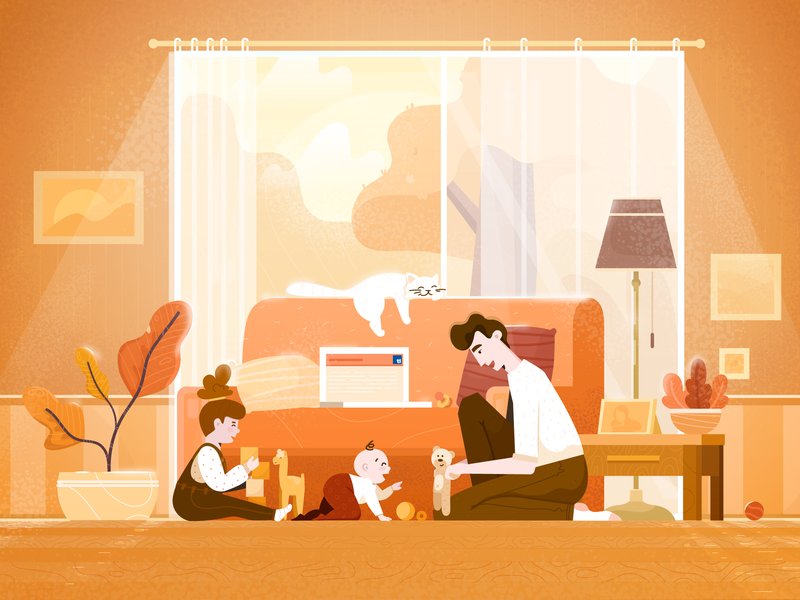 Family Time cat dad baby toddler toys family light plants illustration character vector man fireart studio fireart