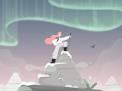 Aurora adventure hawk bird climbing mountain illustration character vector woman girl fireart fireart studio