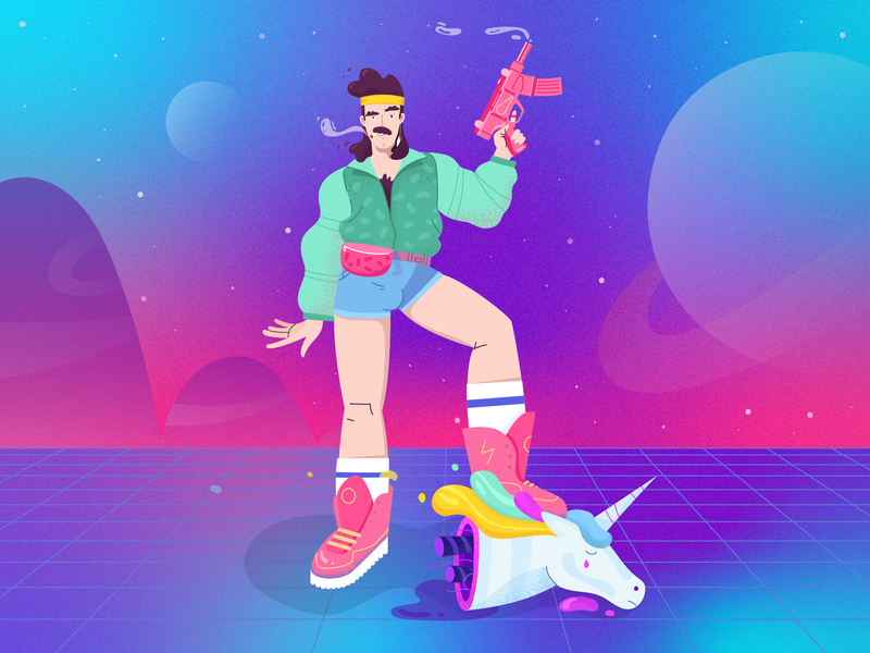 Master of disaster vector illustration head space character shorts gun 80s style fireart fireart studio robot unicorn