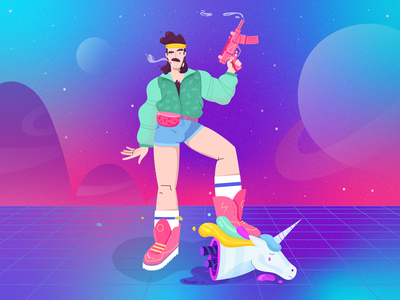 Master of disaster vector illustration head space character shorts gun 80s style fireart fireart studio robot unicorn