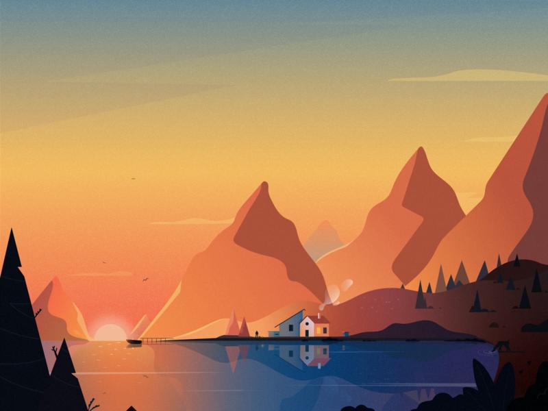 Dusk mountains sun landscape view sunlight sunrise dusk ui vector illustration fireart fireart studio