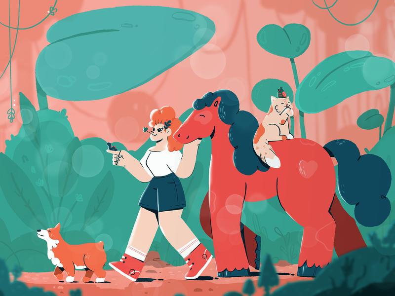 walk light walk illustration forest worm bird doggy corgi horse character design cat girl woman fireart fireart studio