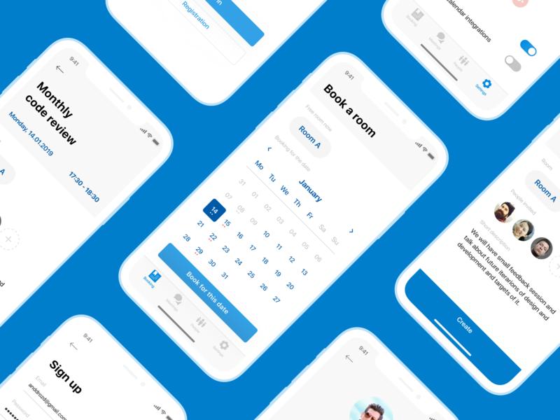 Screens of Meetly ux ui office mobile meetings ios interface behance app