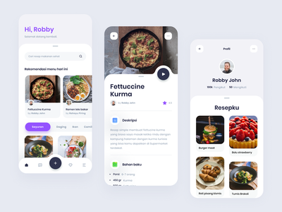 #Exploration - Recipes App indonesia recipes app food typography vector app ui