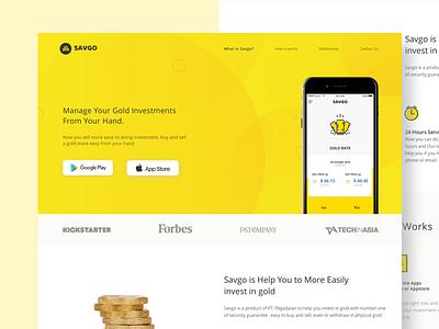 Savgo App Landing Page ux ui investment web design app website product website tracker bank gold app website landing page