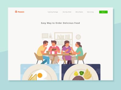 Pawon Homepage - Exploration Design web design landing page ui delivery food home website illustration homepage