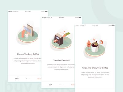 Coffee App Onboarding onboarding order restaurant food drink isometric illustration ui coffee