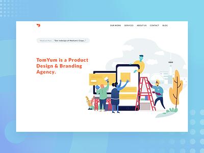 Teamwork sketch vector design studio website illustration
