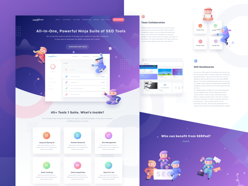 Serped Landing Page seo tools design seo icon design icon ui ui design webdesign dashboard vector landingpage website sketch app character design illustration ninja
