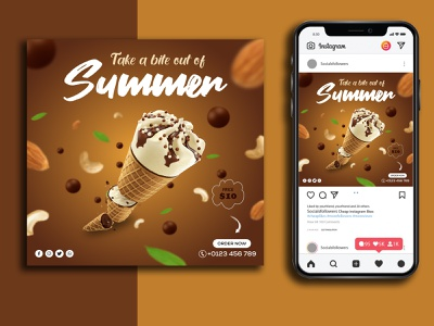 Ice Cream Social Media Post/Banner Design