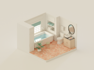 Bathroom isometric bathroom 3d