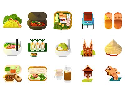 A little Viet Nam illustration vehicles architecture food vector icon viet nam