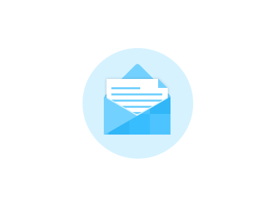 Flat Mail Icon (PSD) blue photoshop flat mail envelope icon letter psd flat design flat icon download freebie