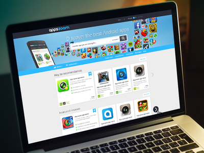 Appszoom homepage redesign search apps lists mobile desktop roboto blue appszoom button card android iphone