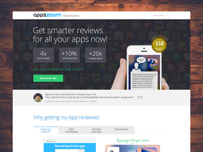 Landing page for app promotion landing service developers review tabs flat button green testimonials quote sale discount