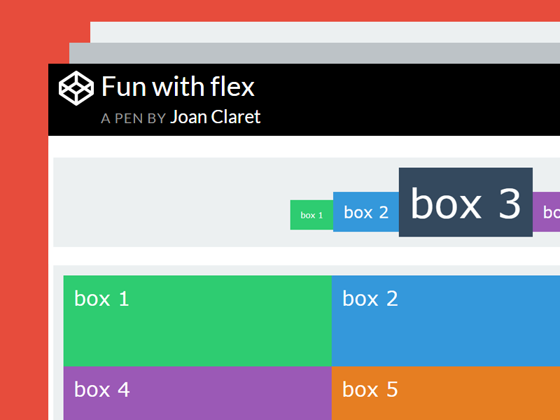 Codepen flexbox examples: Fun with flex by DPAM23 on Dribbble