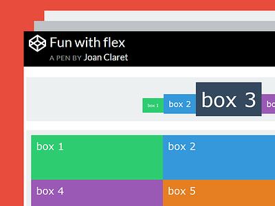 Codepen flexbox examples: Fun with flex code css3 responsive frontend flat scss css flex flexbox codepen