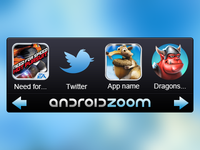 Android widget for AndroidZoom android widget androidzoom mobile app blue logo apps arrow