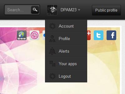 Drop down menu ui drop down profile navigation top bar grey button gradient icons menu search