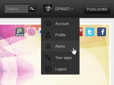 Drop down menu 2 drop down profile navigation top bar grey button gradient icons menu hover search ui