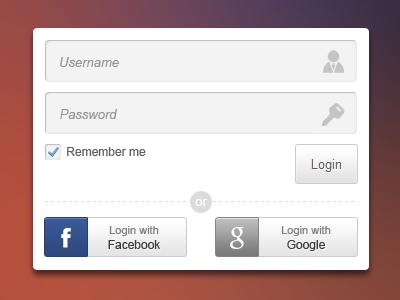 Login login facebook google checkbox input button shadow password background ui form