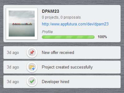 Dashboard / User profile dashboard ui user interface news profile icons image wood texture green grey progressbar progress bar activity