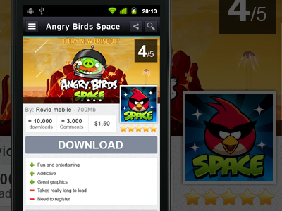 Android app card app icon download button android