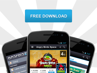 Landing page for android mobile users landing page button blue mobile app rising download samsung nexus android