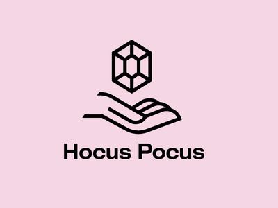 Hocus Pocus occult witchcraft illusion mark branding logotype logo wizard witch hand gem crystal magic pocus hocus hocus pocus