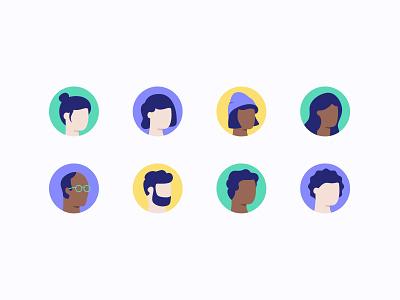 Profile Avatars illustrations hair head product design profiles profile avatar icons avatars avatar green yellow icons circle character icon popup sleeknote illustration ux ui