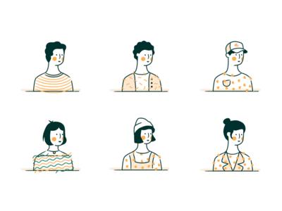 Character Illustrations branding people human hair head avatar design characters females female avatar sleeknote character ui design illustration