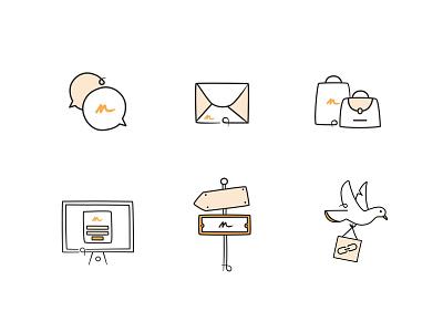 Spot Illustrations sign chat bag email bird set illustrations spot spot illustration ui popup sleeknote illustration
