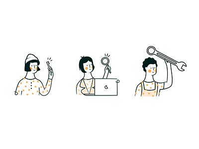 Managed Solution Illustrations teamwork key website illustrations sleeknote yellow border set characters character illustration ui