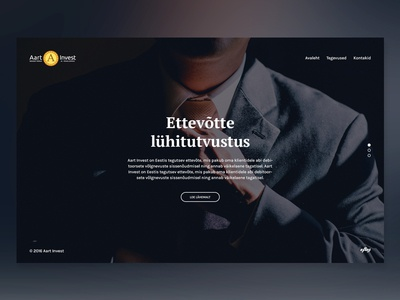 Landing page - Investing theme minimalistic home landing cold blue business corporate