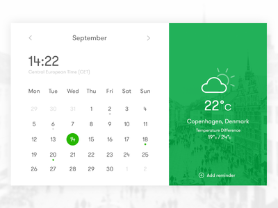 Calendar widget app ux ui green clock copenhagen city weather date widget time calendar