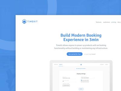 Landing page for Timekit web startup ux ui home header blue booking landing interface