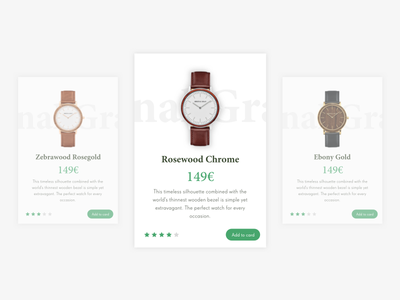 Shopping UI Card shop shopping card ecommerce interface green wood watch ux ui