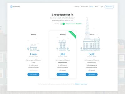 Pricing page blue web buildings city illustration landing freemium pricing ux ui