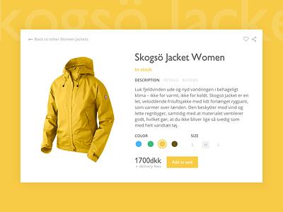 Fjällräven Product Card web clothing yellow shop ux ui e-commerce card product jacket