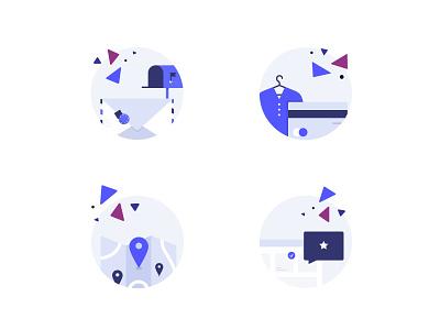 Product Type Illustrations ux illustrations icon circle product ecommerce 2d web card sleeknote blue icon set icons illustration ui