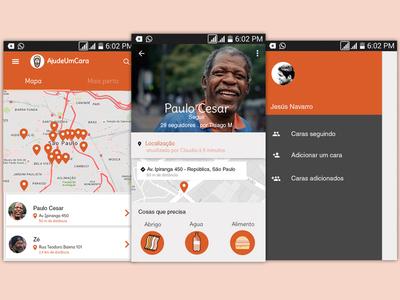 AjudeUmCara screens app