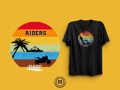 Biker T-shirt Design, illustration. tree sea mountain motorcycle rider landdscape biker bike marketplace pod tshirt design art t-shirt vector illustration branding tee design graphic design advertising